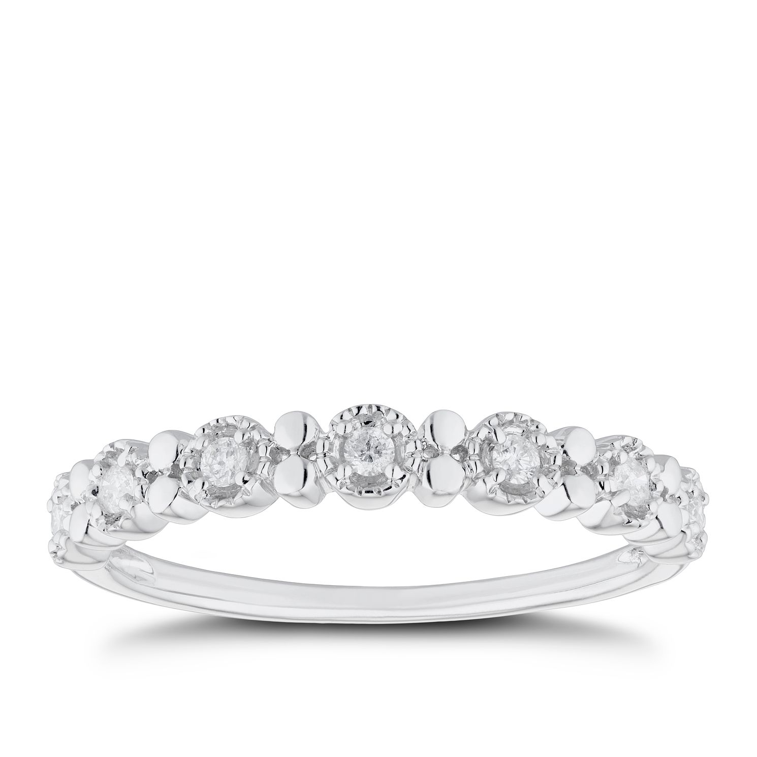 9ct White Gold 1/10ct Diamond Eternity Ring - Product number 5943248
