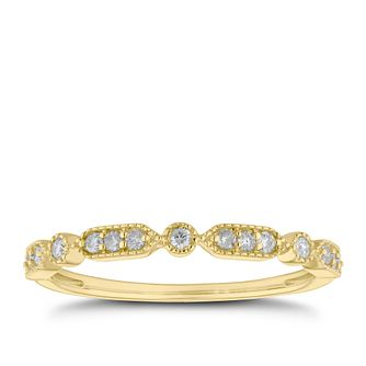 9ct Yellow Gold 0.12ct Diamond Milgrain Edge Eternity Ring - Product number 5943426