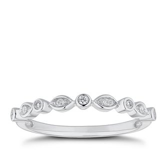 9ct White Gold Diamond Round & Marquise Frame Eternity Ring - Product number 5943973
