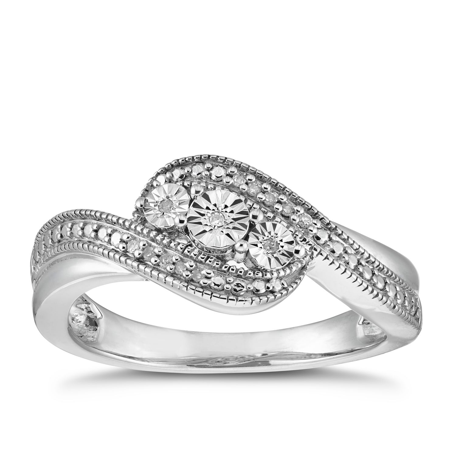Silver Diamond Three Stone Ring - Product number 5944252