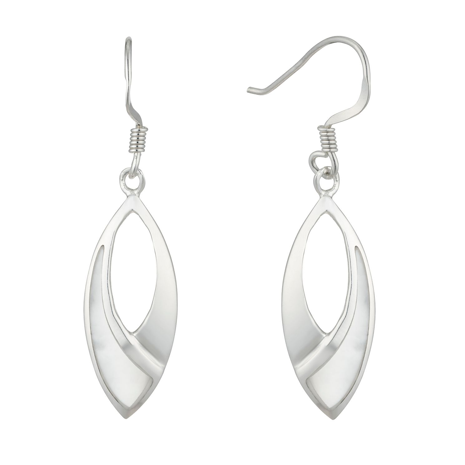 Silver Mother-Of-Pearl Marquise Drop Earrings - Product number 5947006