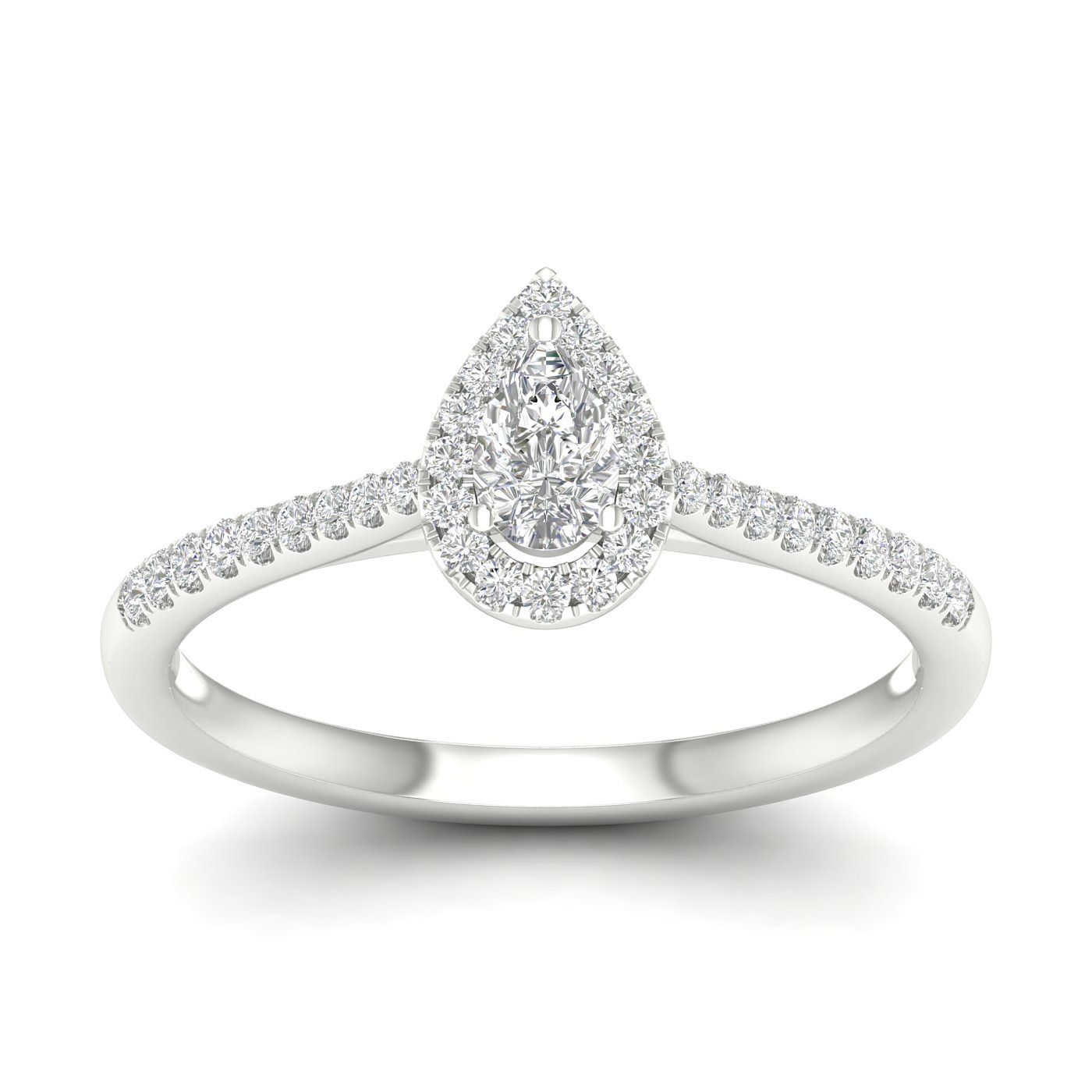 9ct White Gold 0.33ct Pear Cut Diamond Halo Ring - Product number 5947030