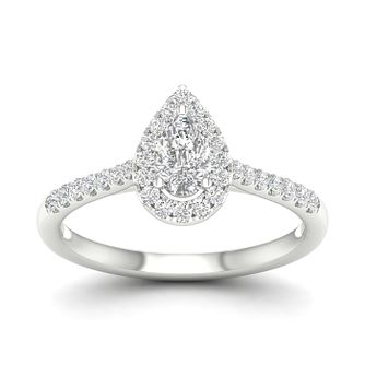 9ct White Gold 1/2ct Pear Cut Diamond Halo Ring - Product number 5947618