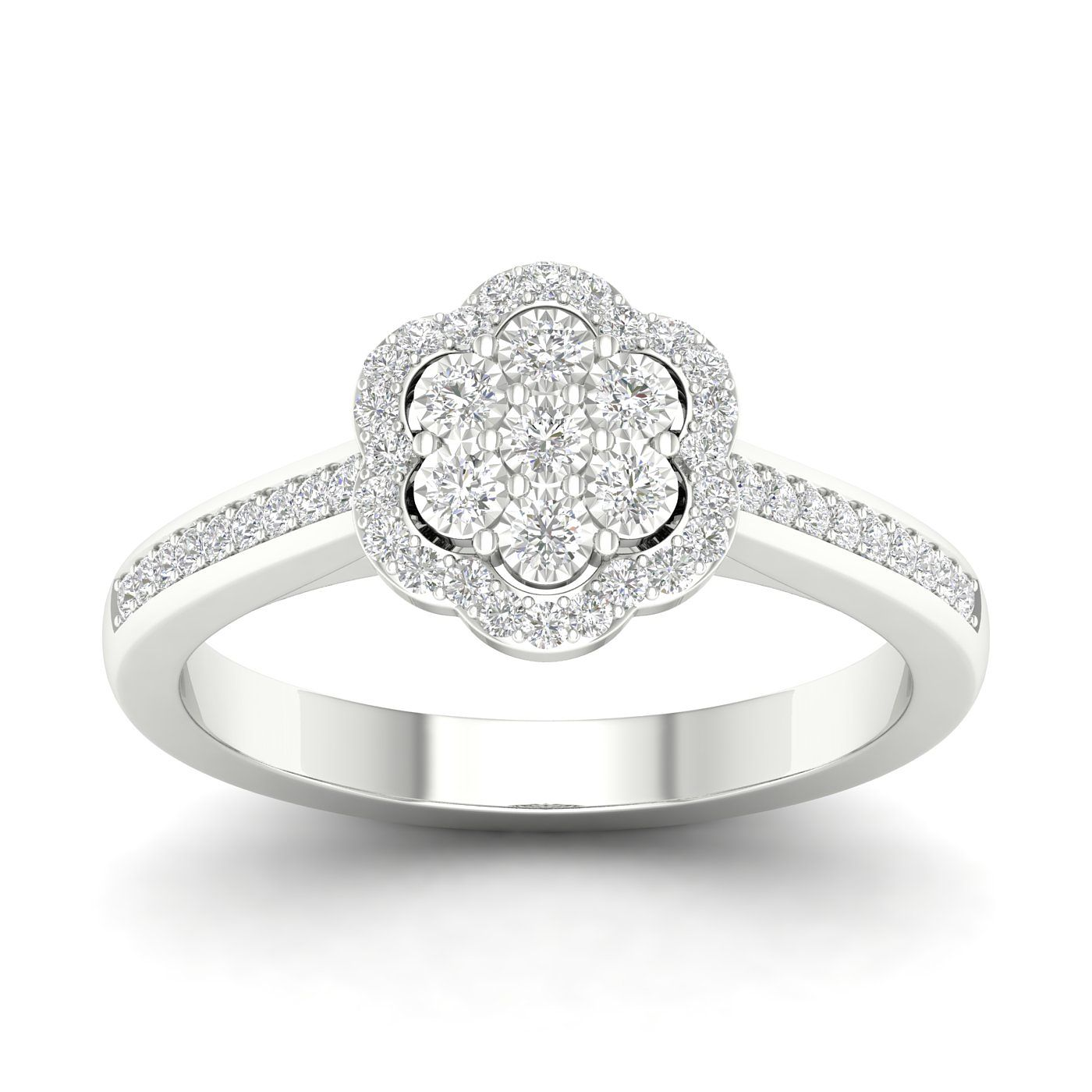 9ct White Gold 1/5ct Diamond Cluster Ring - Product number 5947782