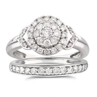 Perfect Fit 9ct White Gold 2/3ct Diamond Bridal Set - Product number 5949734