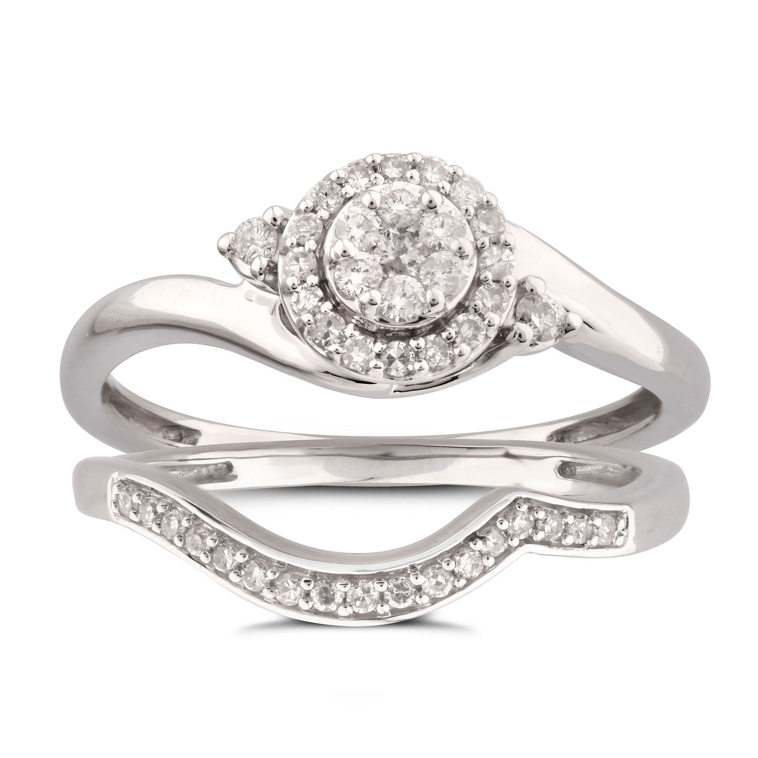 9ct White Gold 1/4ct Diamond Perfect Fit Bridal Set - Product number 5949866