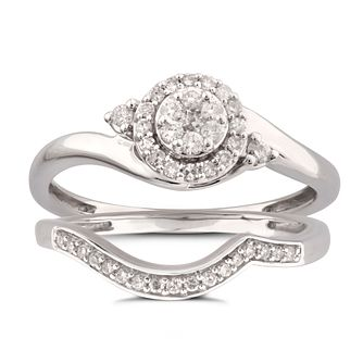 Perfect Fit 9ct White Gold 1/4ct Diamond Bridal Set - Product number 5949866