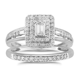 Perfect Fit 9ct White Gold 0.40ct Total Diamond Bridal Set - Product number 5950031