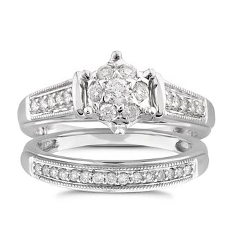 Perfect Fit 9ct White Gold 1/3ct Diamond Star Bridal Set - Product number 5950171