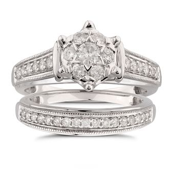 Perfect Fit 9ct White Gold 1/2ct Diamond Cluster  Bridal Set - Product number 5950325