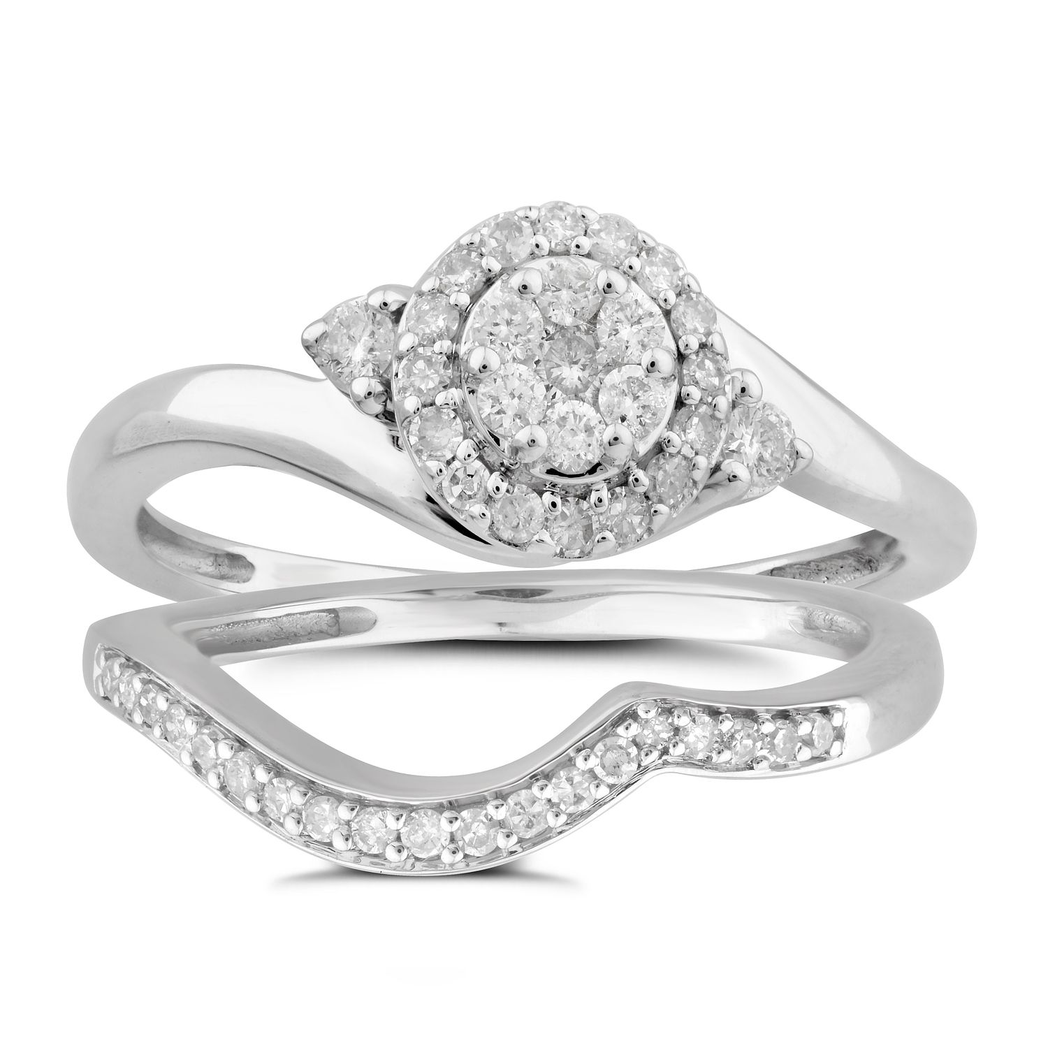 9ct White Gold 1/3ct Diamond Perfect Fit Bridal Set - Product number 5950724