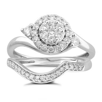 9ct White Gold 1/2ct Diamond Perfect Fit Bridal Set - Product number 5951828