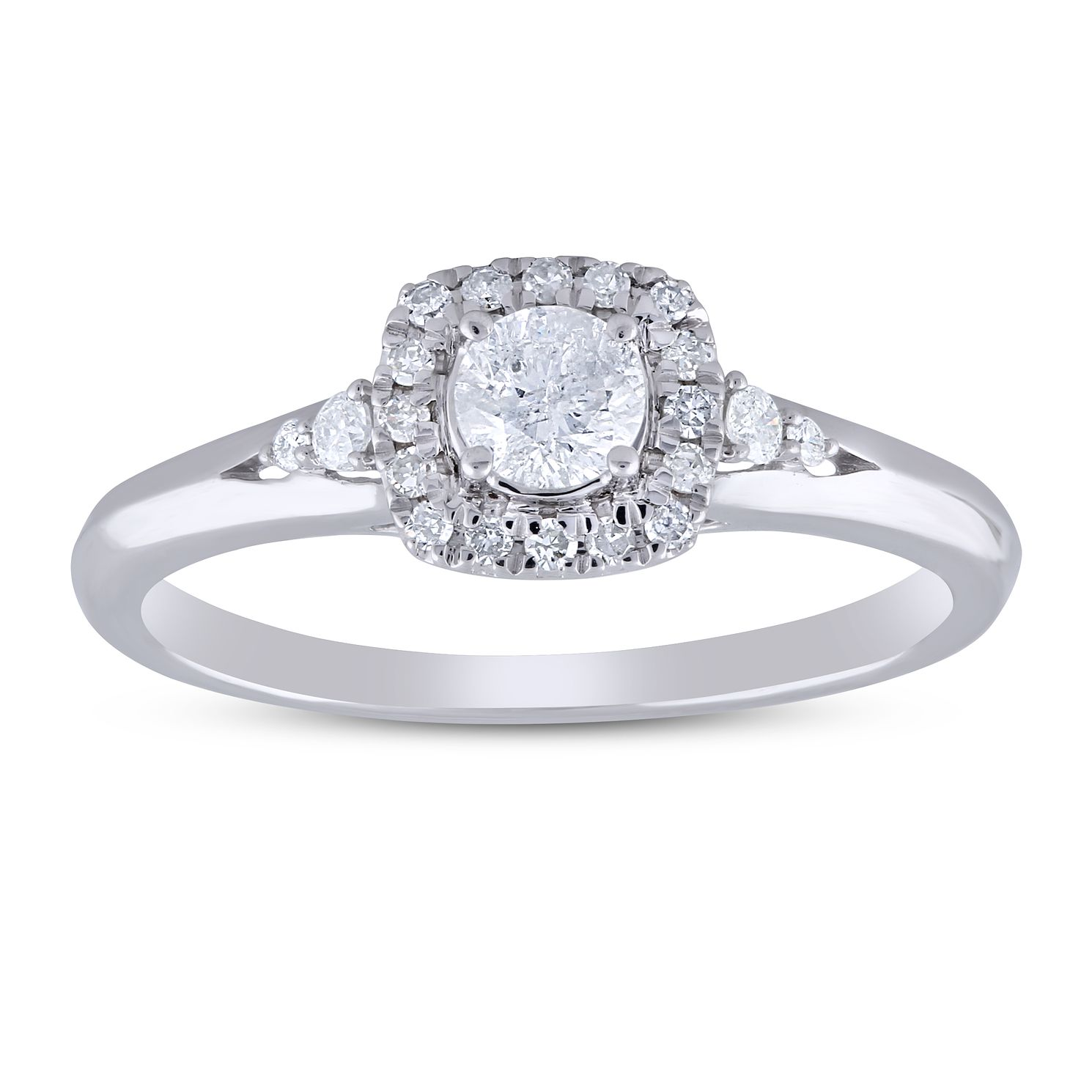 9ct White Gold 0.33ct Total Diamond Halo Ring - Product number 5953529
