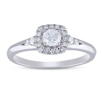 9ct White Gold 0.33ct Diamond Halo Ring - Product number 5953529