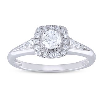 9ct White Gold 1/2ct Diamond Halo Ring - Product number 5953669