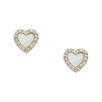 Fossil Vintage Glitz Gold Tone Heart Stud Earrings - Product number 5959799