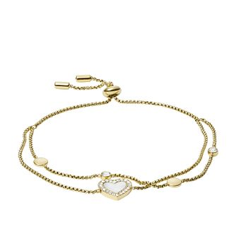 Fossil Vintage Glitz Gold Tone Heart Two Chain Bracelet - Product number 5959802