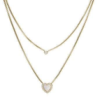 Fossil Vintage Glitz Gold Tone Heart Two Chain Necklace - Product number 5959810