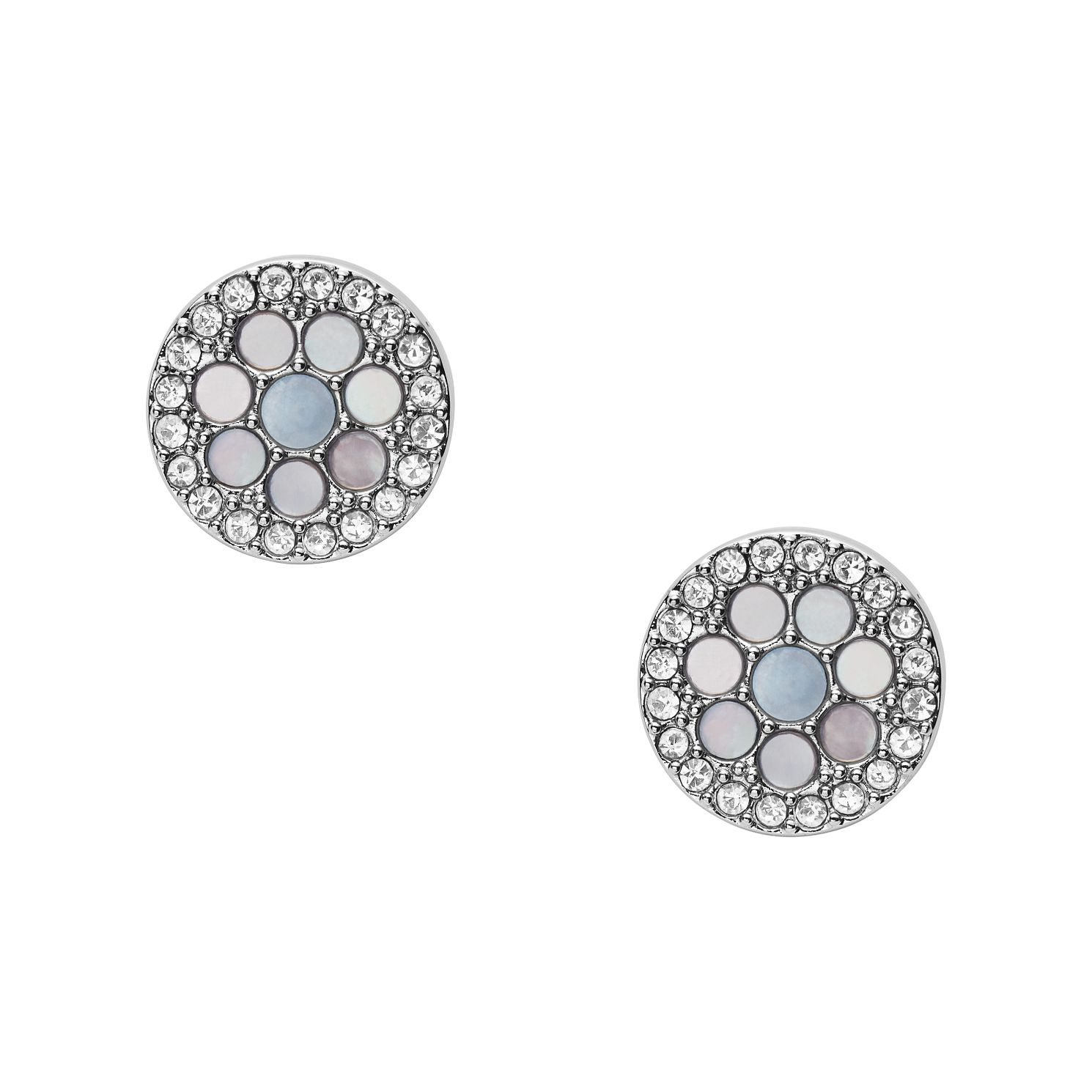 Fossil Vintage Glitz Silver Tone Crystal Stud Earrings - Product number 5959942
