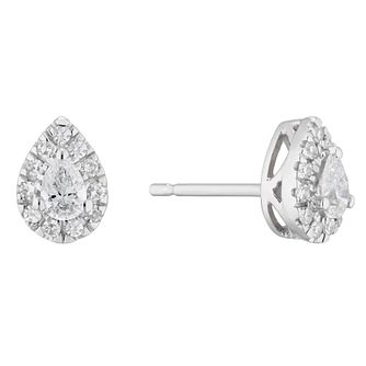 9ct White Gold 0.30ct Diamond Pear-Cut Halo Stud Earrings - Product number 5961785