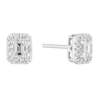9ct White Gold 0.32ct Diamond Emerald-Cut Halo Stud Earrings - Product number 5961793