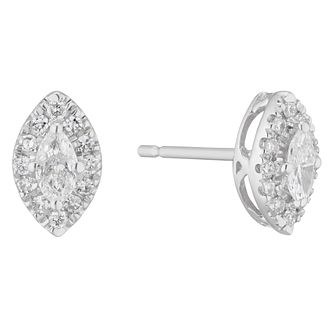 9ct White Gold 1/3ct Diamond Marquise-Cut Halo Stud Earrings - Product number 5961831