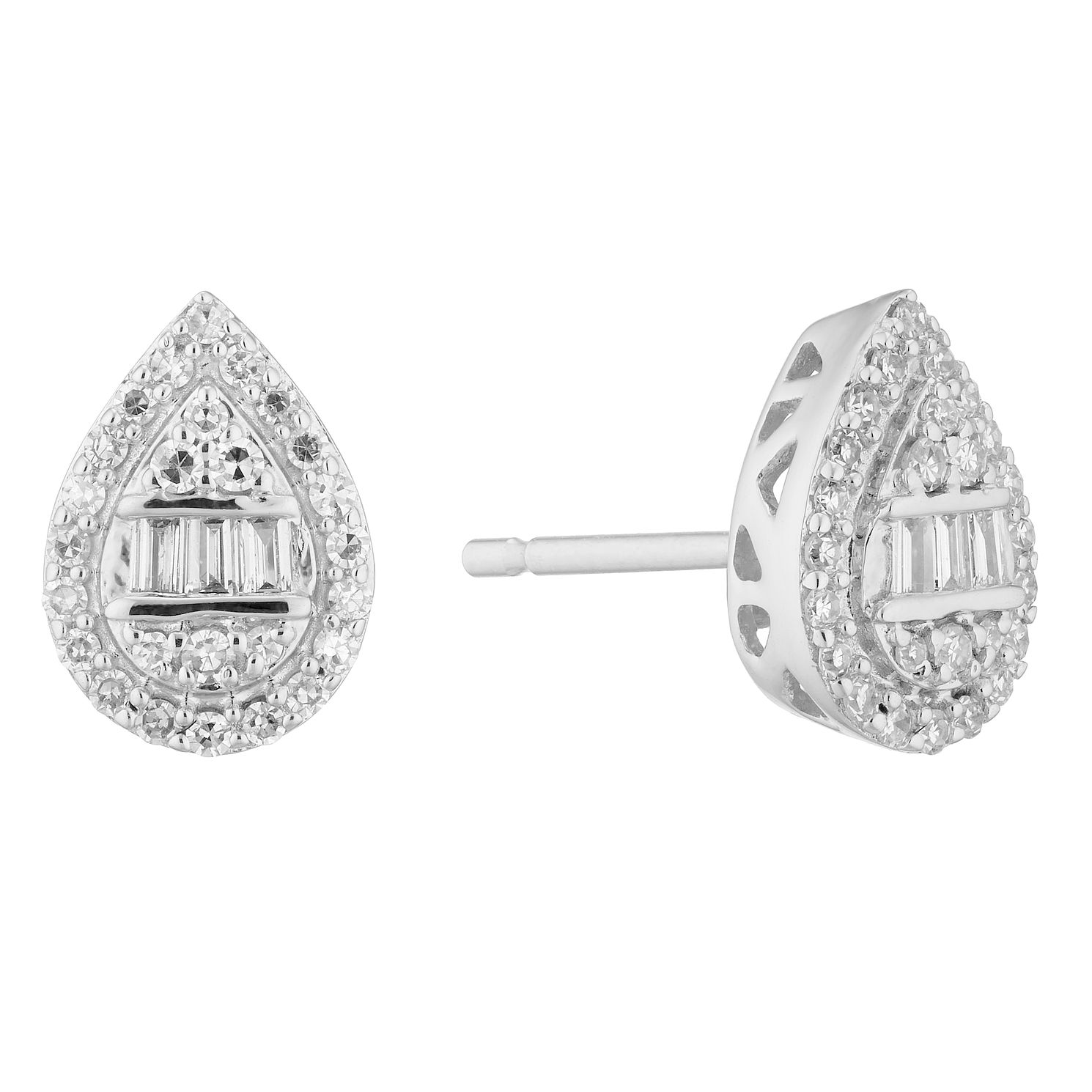 9ct White Gold 0.20ct Total Diamond Mixed Cut Pear Earrings - Product number 5961920
