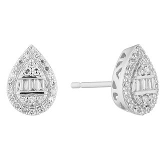 9ct White Gold 1/5ct Diamond Mixed Cut Pear Stud Earrings - Product number 5961920