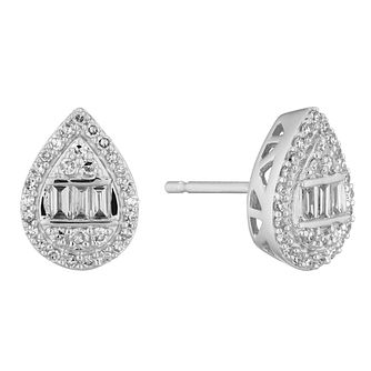9ct White Gold 0.30ct Diamond Mixed Cut Pear Earrings - Product number 5961939