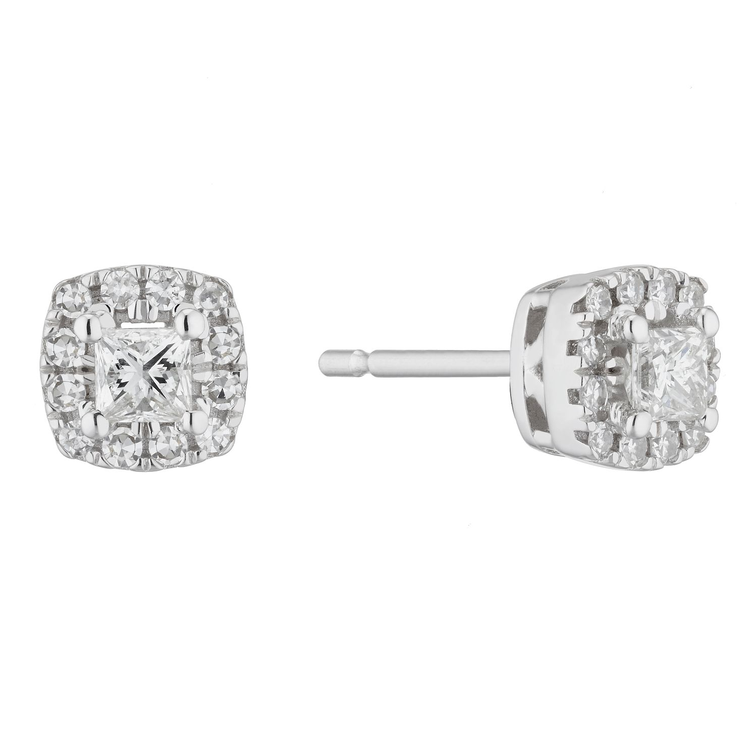 9ct White Gold 0.30ct Diamond Cushion Halo Stud Earrings - Product number 5961971