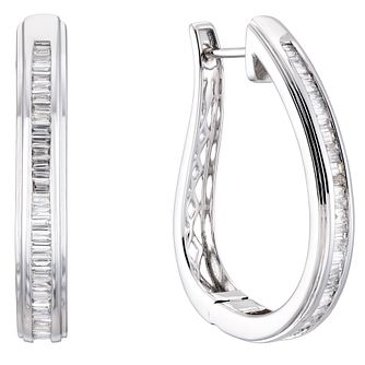 9ct White Gold 2/3ct Diamond Baguette Hoop Earrings - Product number 5961998