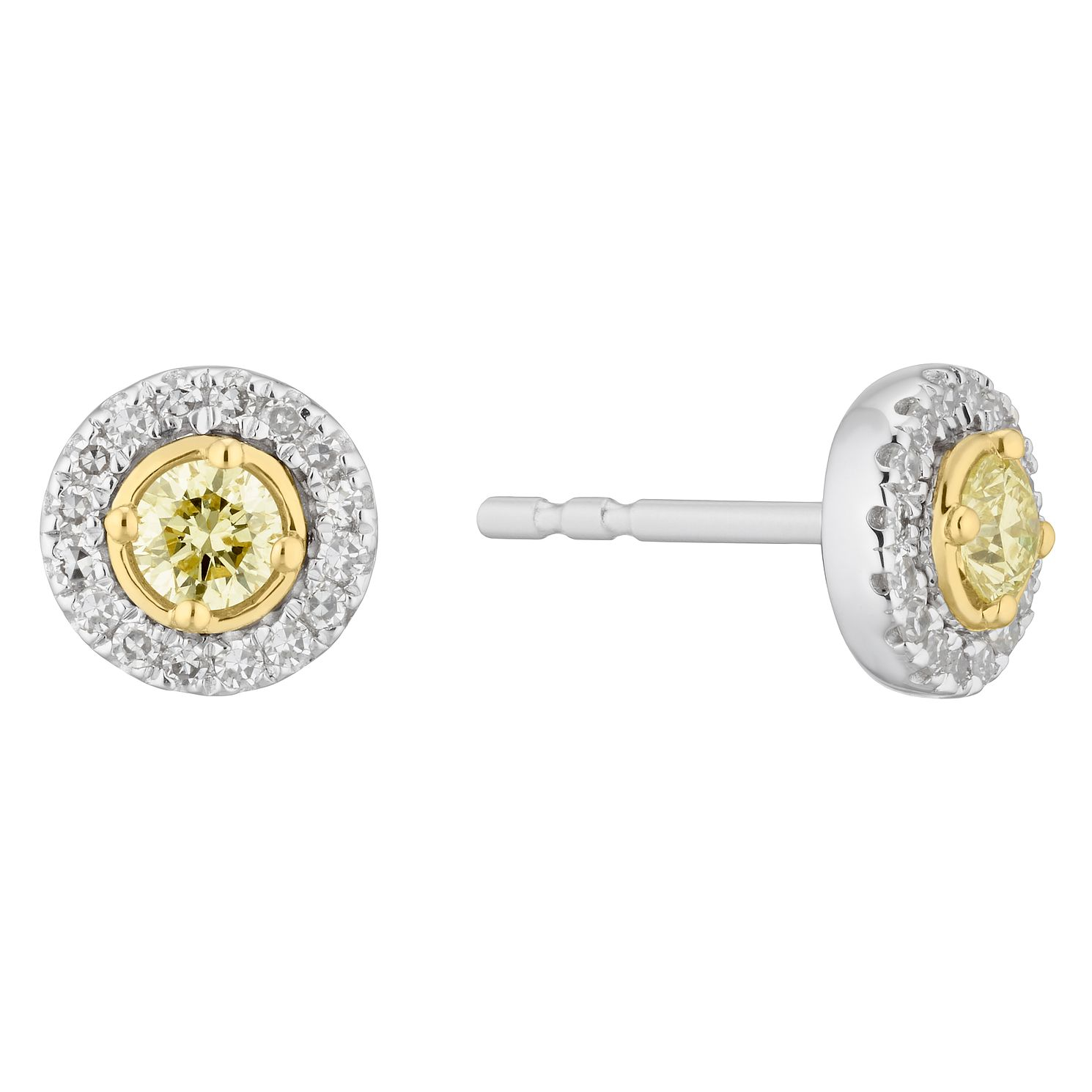 9ct Two Colour Gold 1/3ct Diamond Round Stud Earrings - Product number 5962013