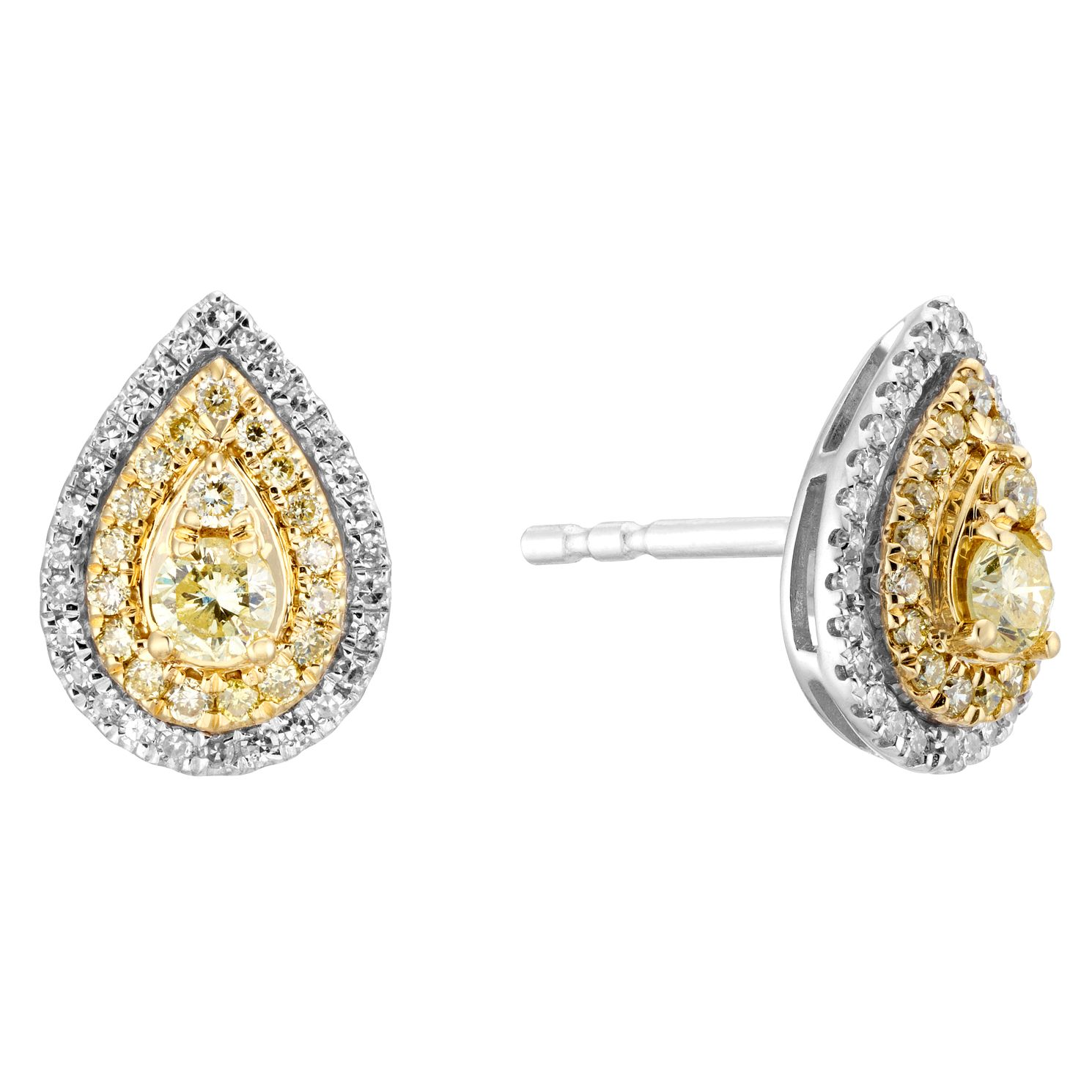 9ct Two Colour Gold 1/3ct Diamond Pear Stud Earrings - Product number 5962048