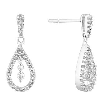 9ct White Gold 1/3ct Diamond Pear Drop Earrings - Product number 5962056