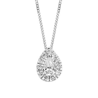 9ct White Gold 0.31ct Diamond Pear-Cut Halo Pendant - Product number 5962064
