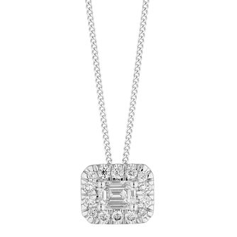 9ct White Gold 0.30ct Diamond Emerald-Cut Halo Pendant - Product number 5962110