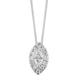 9ct White Gold 1/3ct Diamond Marquise-Cut Halo Pendant - Product number 5962153