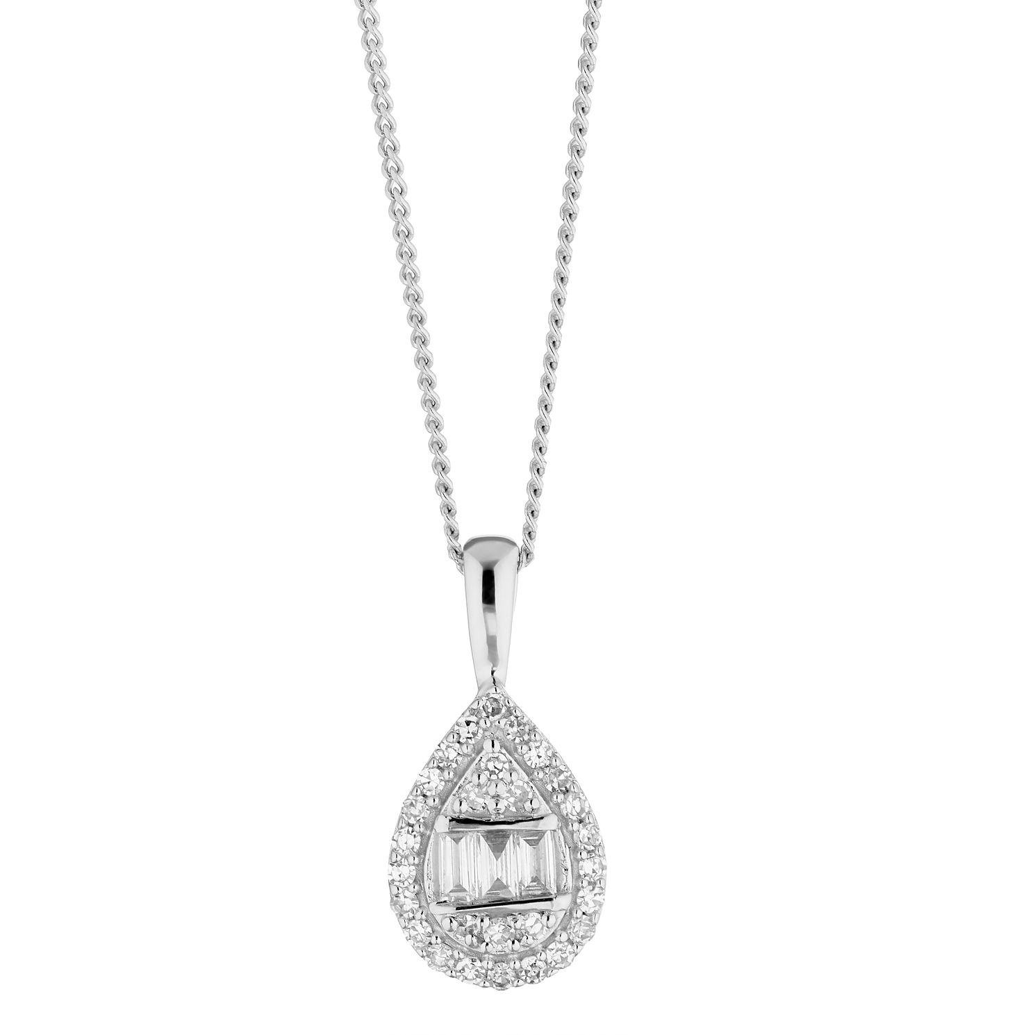 9ct White Gold 0.15ct Diamond Mixed Cut Pear Pendant - Product number 5962196