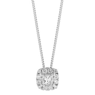9ct White Gold 0.30ct Diamond Cushion Halo Pendant - Product number 5962218