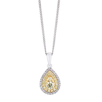 9ct Two Colour Gold 1/4ct Diamond Pear Pendant - Product number 5962358