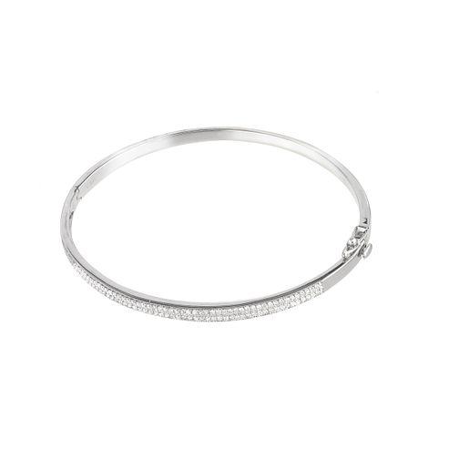9ct white gold 0.50ct diamond bangle. - Product number 5962412