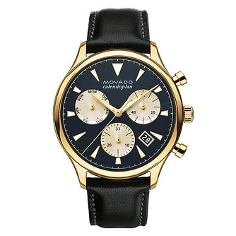 Movado Heritage Men's Gold Plated Strap Watch - Product number 5962455