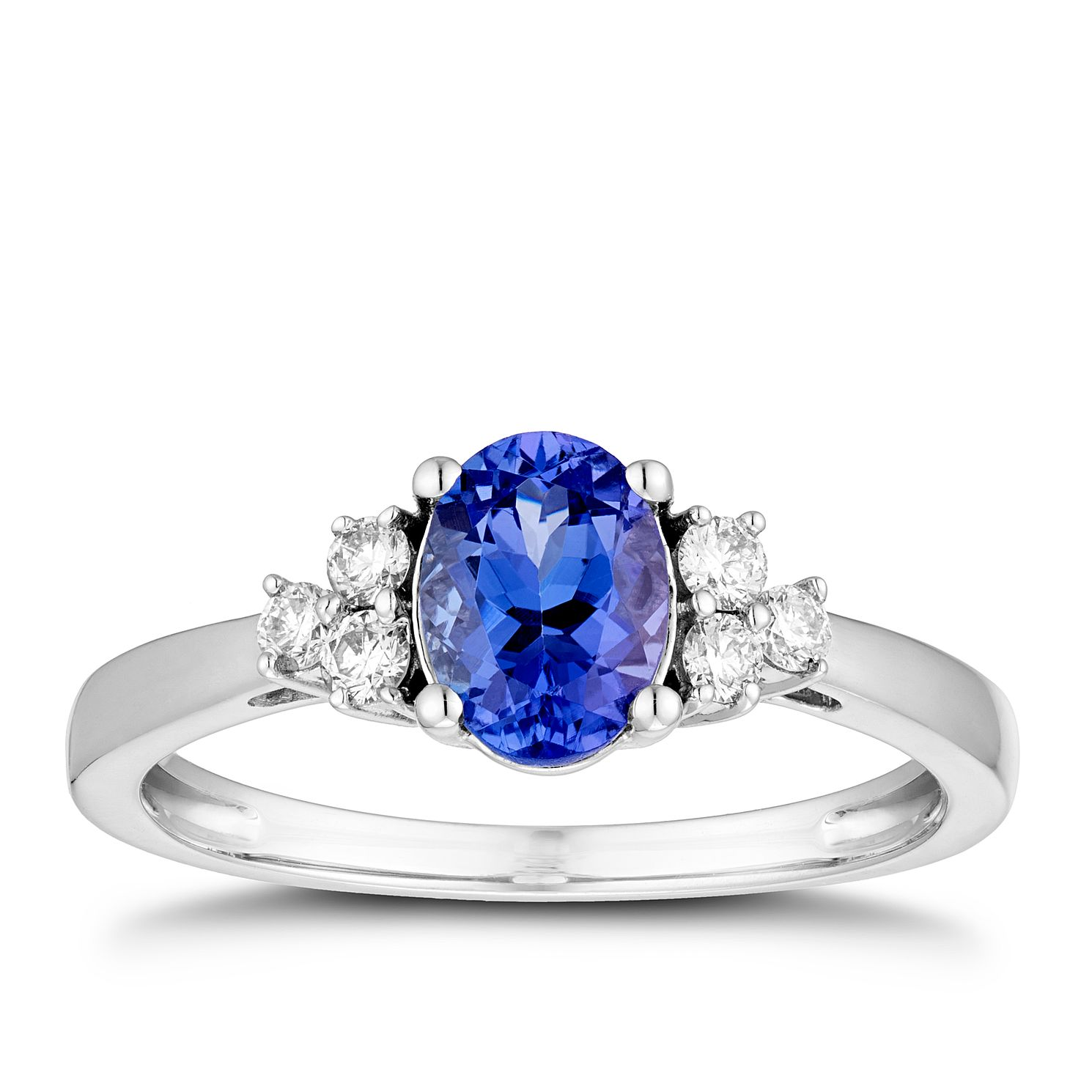 18ct White Gold Tanzanite & 0.16ct Diamond Ring - Product number 5963249