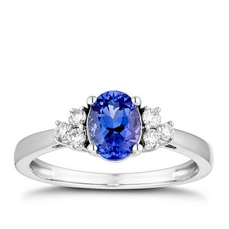 18ct White Gold 0.16ct Diamond & Tanzanite Ring - Product number 5963249