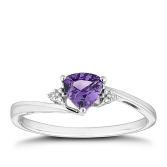9ct White Gold Trillion-Cut Amethyst & Diamond Ring - Product number 5964563