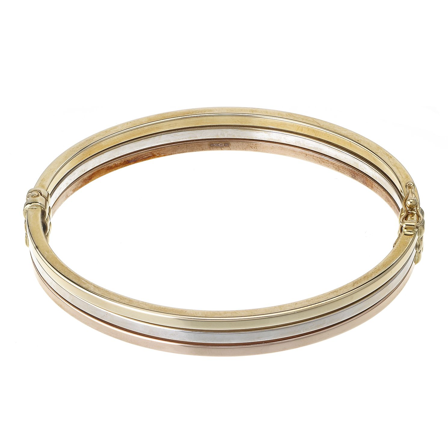 9ct Three Colour Gold Hinged Bangle - Product number 5971195