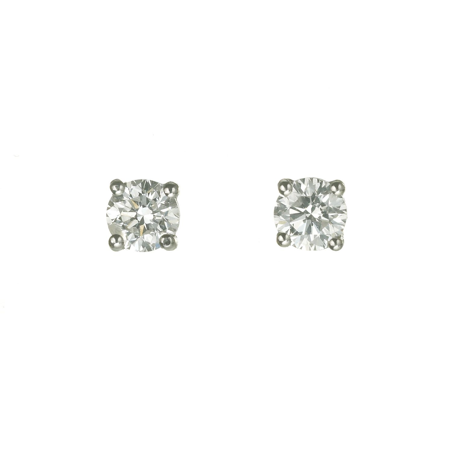 18ct White Gold 0.75ct Diamond Solitaire Stud Earrings - Product number 5972590