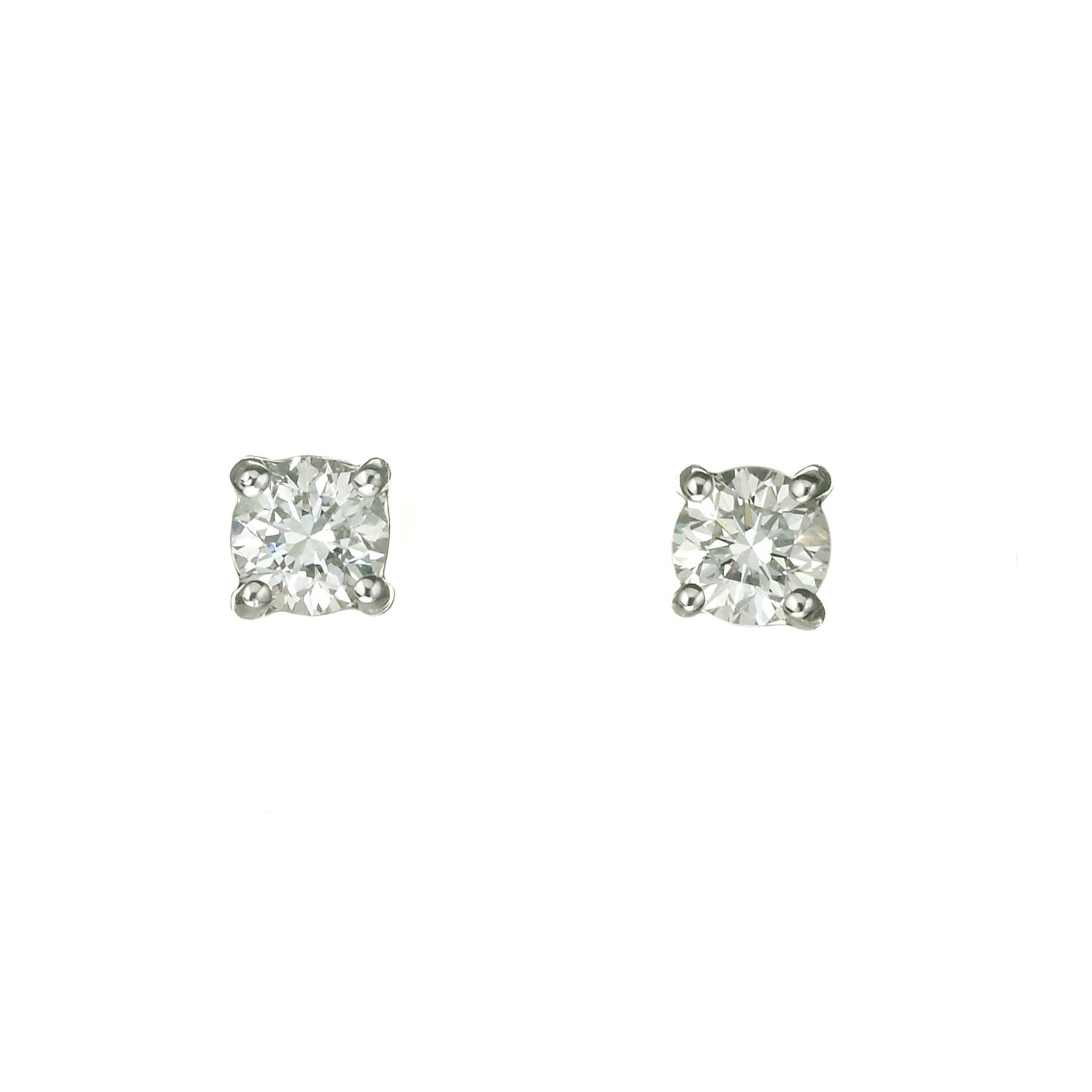 18ct White Gold 2/5ct Diamond Solitaire Stud Earrings - Product number 5972612