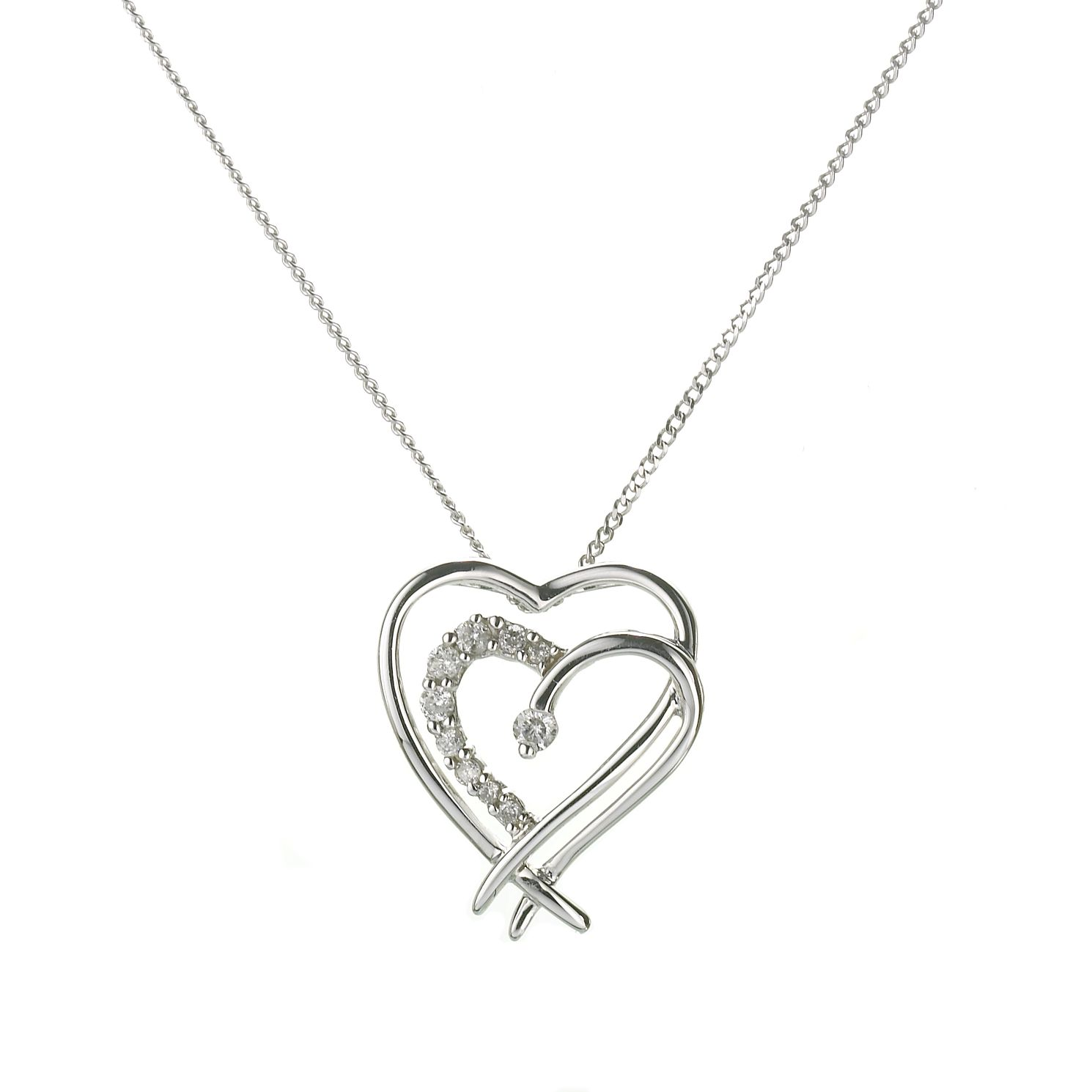 9ct White Gold Diamond Double Heart Pendant - Product number 5986435