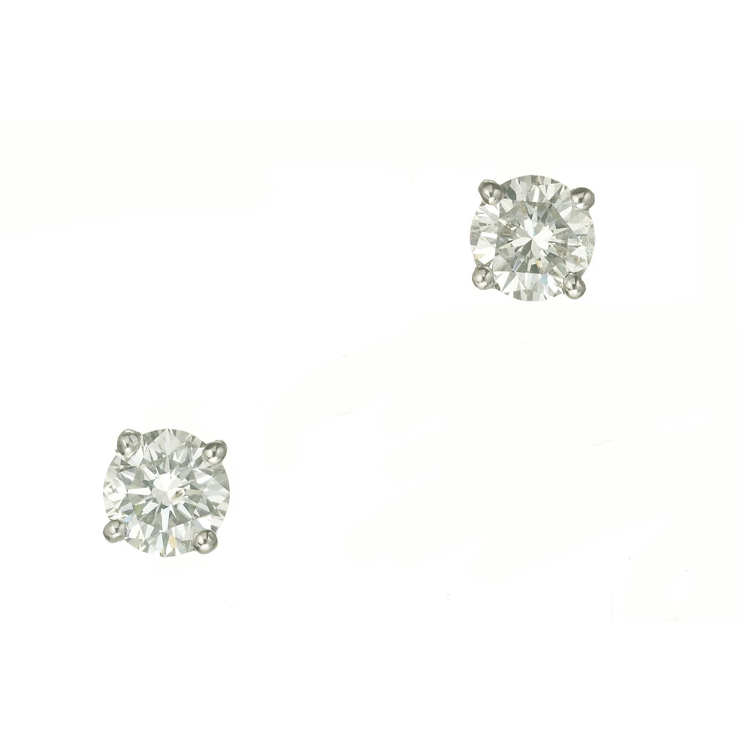 18ct White Gold One Carat Diamond Stud Earrings - Product number 6000924